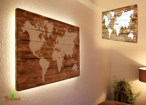 Weltkarte On Holz With Led Lighting Mural Handmade Rustic Etsy