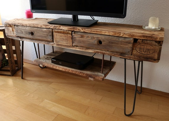 Astonishing Tv Board From Europaletten Vintage Fernsehregal Hairpin Legs Industry Design Sideboard Rustic Old Wood Upcycling Tv Table Wood Furniture Download Free Architecture Designs Grimeyleaguecom