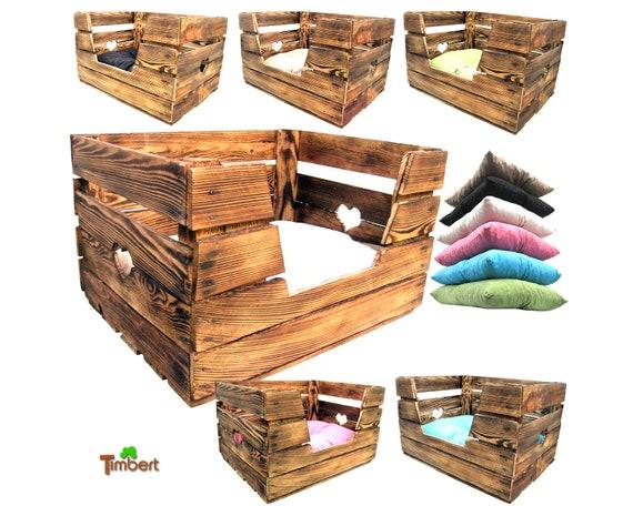 katzenkorb hundekorb tierbett aus einer alte obstkiste mit etsy. Black Bedroom Furniture Sets. Home Design Ideas