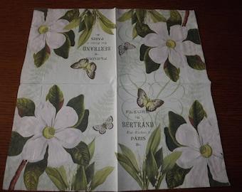 White butterflies flowers paper towel