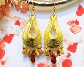 ALBERTINE * Bohemian earrings drop shaped and colored beads