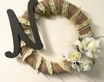 Elegant Monogram Floral Wreath