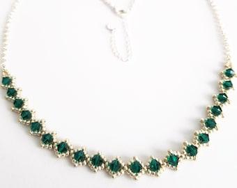 Emerald Swarovski Necklace, May Birthstone Necklace, Crystal Necklace Emerald, Birthstone Jewelry, Necklace Green Swarovski, Silver Necklace