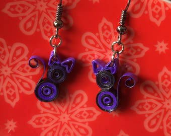 Quilled Kitty Cat Earrings in Purple and BlackPaper Strip Earrings