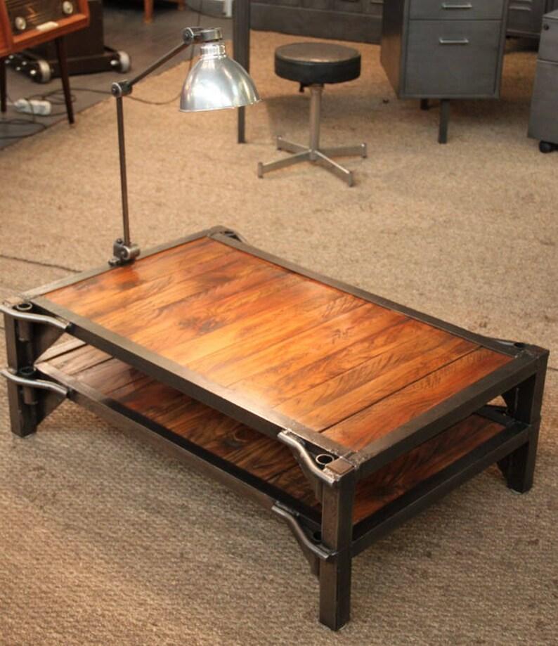 Table Basse Palette Sncf Usine Atelier Mobilier Industriel Design Metal Bois