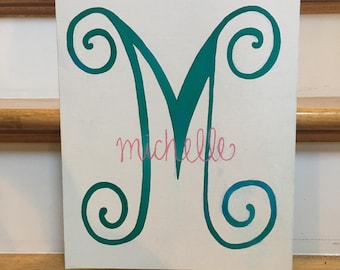 Initial with Name or Monogram Hand-Painted Canvas