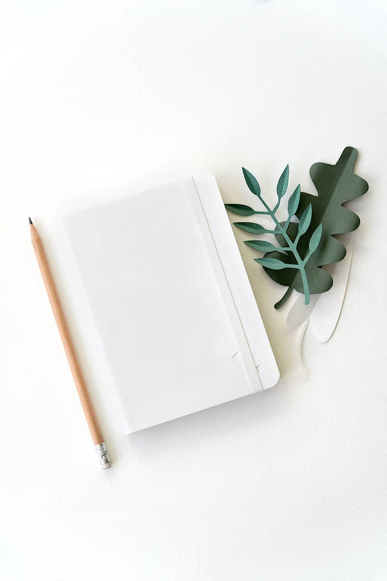 Couple Of Two White Minimalist A5+A6 Notebooks Eco Leather Vegan Cover Eco Friendly Sketchbook Blank Pages Dot Grid Bullet Journal Notebook