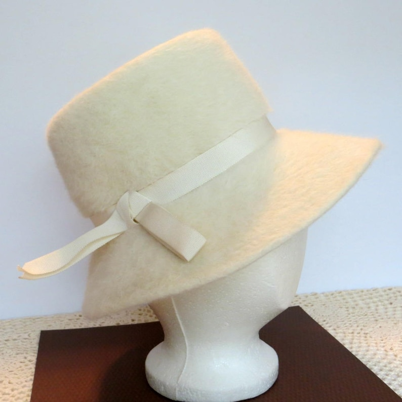 e0a870ee0 Vintage Ladies Cream Angora Fur Hat | Coronetta Body Made in Italy | 1960s  Wide Brim Hat | Women's Fashion Accessory | Winter White