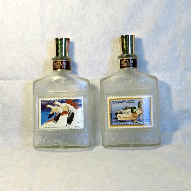 Vintage Jim Beam Bourbon Decanter Duck Stamp Series Set of 2  715fe516d