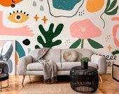 Removable Wallpaper Scandinavian Wallpaper Colorful Wallpaper Peel and Stick Wallpaper Wall Paper Mural - B302