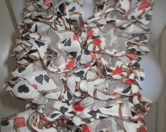 voile fabric scarf, orange black brown and white, mothers day gift
