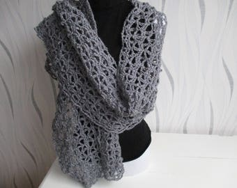 shawl wool silver gray, silver grey wool, wool grey scarf shawl, silver, mothers day gift