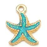 Marine pendant Golden Starfish turquoise glitter enamel