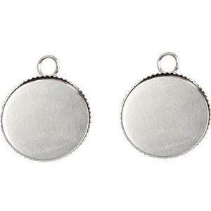 2 silver round 10mm supports for round cabochons