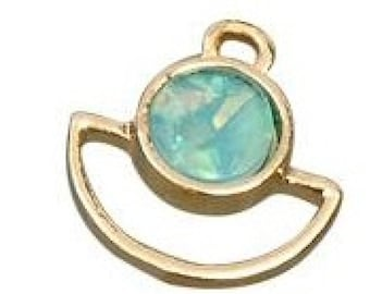 Gold and turquoise mother of Pearl pendant