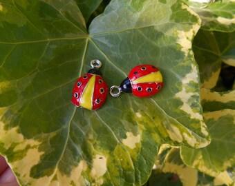 x 1 red and yellow metal Ladybug charm silver enamel.