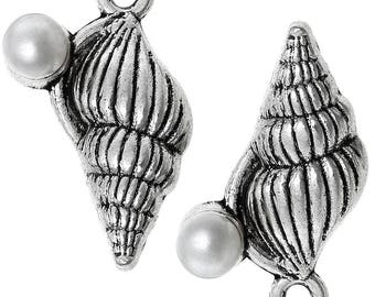x 2 charms silver bead pendant shell mother of Pearl.