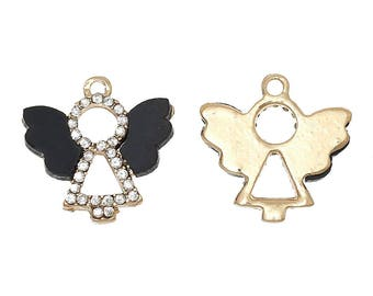 x 1 gold plated Angel charm and rhinestone, black wings.