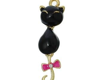 x 1 black cat gold tone and enamel pendant charm.