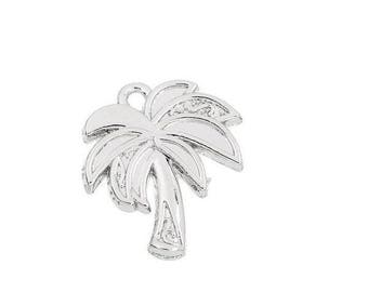 x 1 tropical Palm tree 20 mm silver plated pendant.