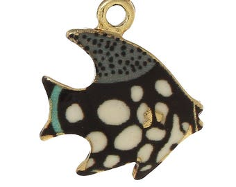 x 1 pendant in gold tone and black and white enamel fish charm.