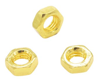 x 3 beads spacer 9 mm gold metal nut.