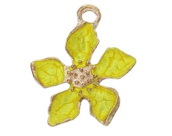 1 flower yellow pendant charm gold tone and enamel