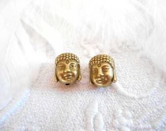 x 2 beads 11 mm antique bronze Buddha.