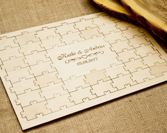 Wedding guest book Puzzle,Wedding guestbook Wood, Jigsaw guestbook,Guest book Puzzle,Personalized puzzle, Wedding puzzle guestbook