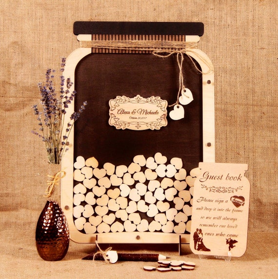 Mason Jar Wedding guest book Custom wedding guestbook Alternative guestbook Custom guest book  Mason Jar wedding Alternative Wedding sign