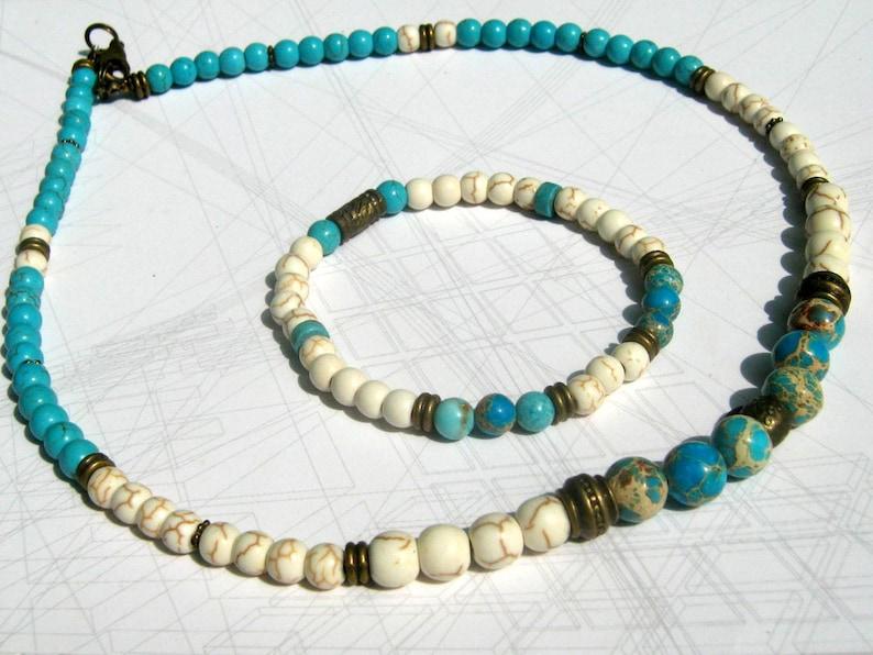 bronze beaded Bracelet Men white,turquoise Mala boho stack Bracelet Jasp gemstone Menwomen couple Gift men women set jewelry