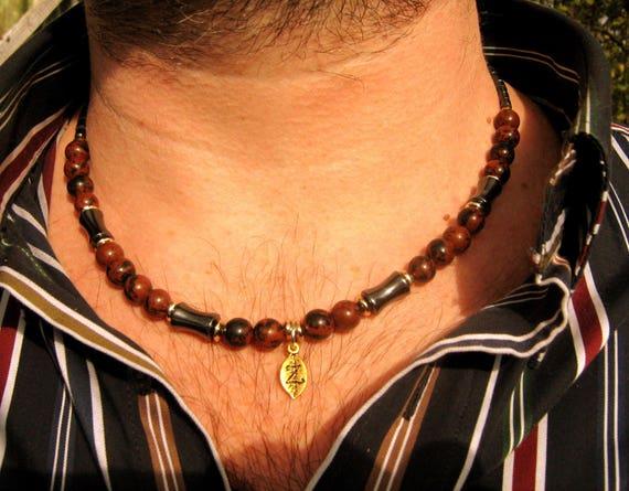 collier homme marron