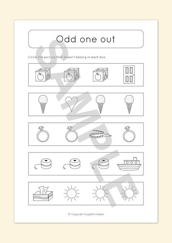 Printable Odd One Out Activity Worksheet For Kids Download Etsy