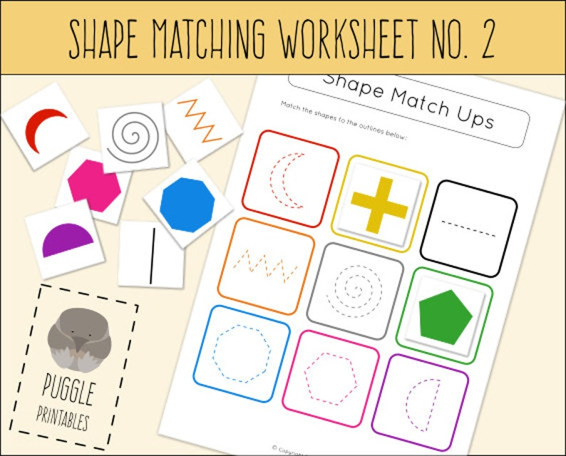 image relating to Printable Shape Worksheet identify Printable Condition Matching Worksheet No. 2 Active Bag Down load