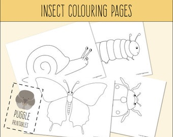 Printable Insect Colouring Pages (Butterfly, Caterpillar, Ladybirdy, Snail) DOWNLOAD