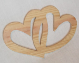 Double love heart in solid wood