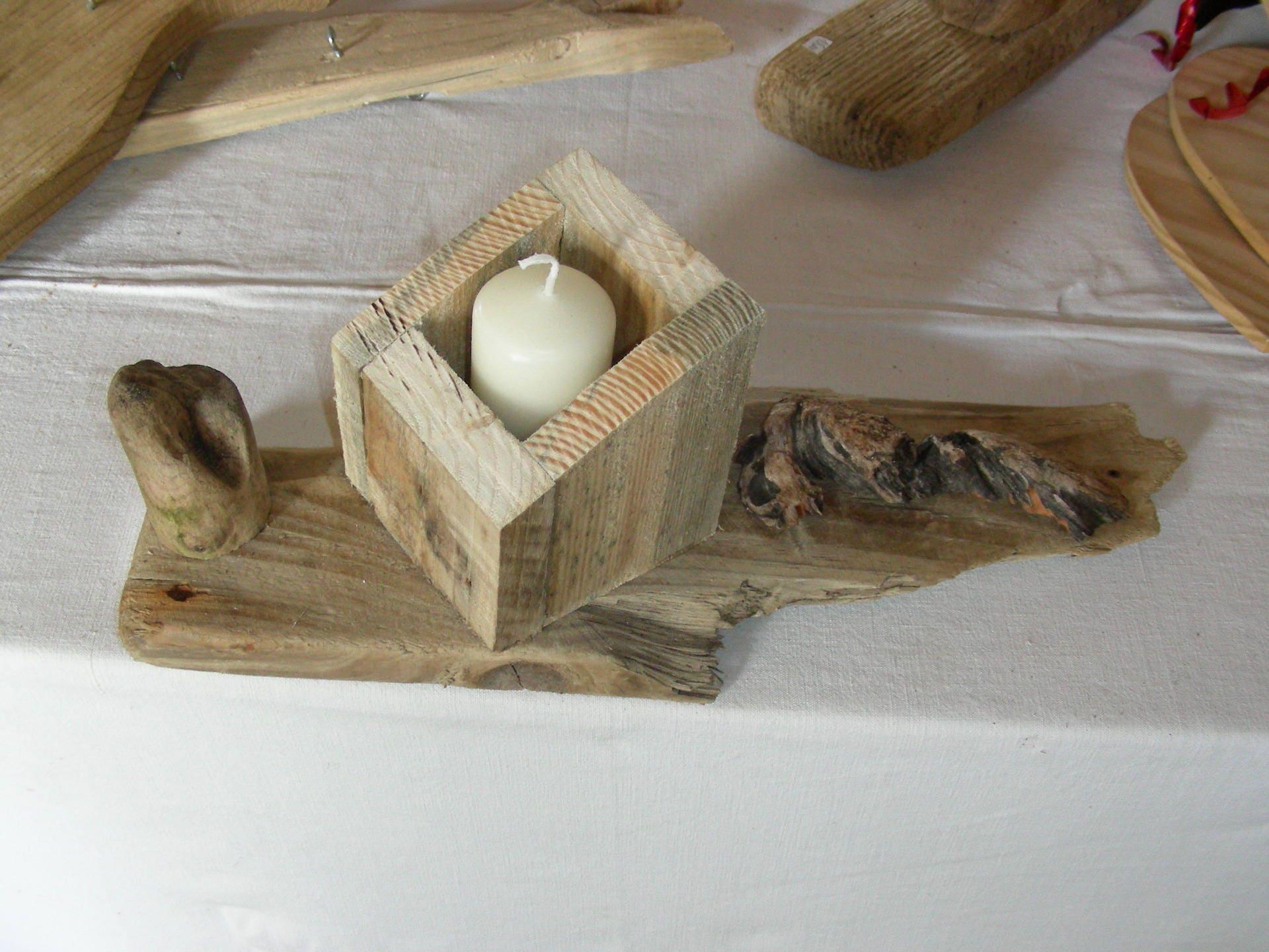 bougeoir en bois flott et bois de palette etsy. Black Bedroom Furniture Sets. Home Design Ideas
