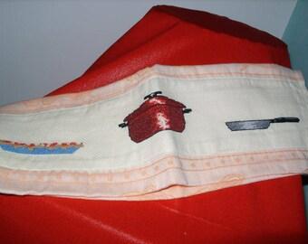 Embroidered cotton Tea towel