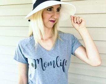Momlife Lifestyle Tees, Women's Lifestyle Tees, Women's V Neck Tee