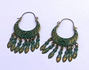 ottone orecchini a spirale orecchini in ottone orecchini di dichiarazione orecchini etnici gioielli tribali grandi orecchini gioielli in ottone orecchini tribali orecchini gitani orecchini indiani