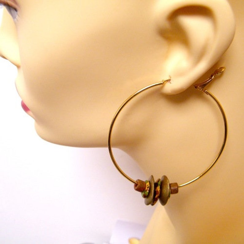 handmade Earth red Creole gold metal and ceramic Greek