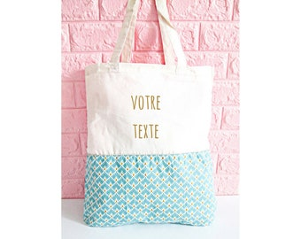 Tote bag personalized, ecru, blue scales - cotton bag, tote bag, shopping bag, bag, birthday gift, mother's day