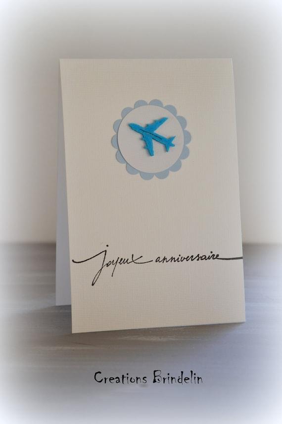 Carte Voyage Joyeux Anniversaire Avion En Feutrine Bleue Etsy