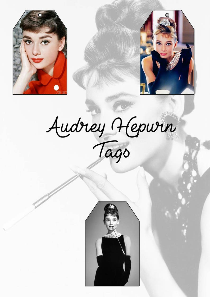 Vintage 1950/'s 1960/'s Audrey Hepburn vintage pin up Gift Tag designs INSTANT DOWNLOAD handmade gift wrapping scrapbook