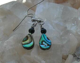 Abalone Shell and Onyx earrings