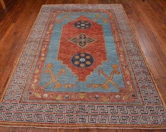 Vintage Style Khotan Rug, 6'x8'10'', Light Blue, All wool pile