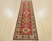 Geometric Kazak Runner, 2 39 9 39 39 x 9 39 1 39 39 , Red Beige, Hand-Knotted Wool Pile