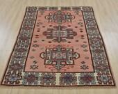 Vintage Turkish Balikesir Rug, 4 39 2 39 39 x 5 39 6 39 39 , Pink Ivory, Hand-Knotted Wool Pile