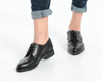 Womens black leather handmade shoesloafersoxfords