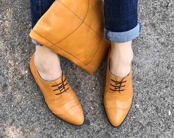 Free Shipping Leather Oxfords Winter Shoes Flat Shoes Black Shoes Oxford Shoes Women Leather Shoes